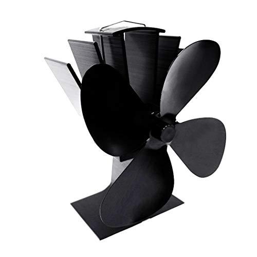 Noir ventilateur /écologique et efficace Ventilateur /à 4 pales aliment/é par la chaleur pour le foyer de br/ûleur /à b/ûches de po/êle /à bois