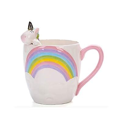 Linda Cerámico Taza Unicornio Tazas de cafe Gracioso Arco iris Copa de la mañana para el café Té Leche día de San Valentín Día de la Madre Regalo 400ML 13.5oz