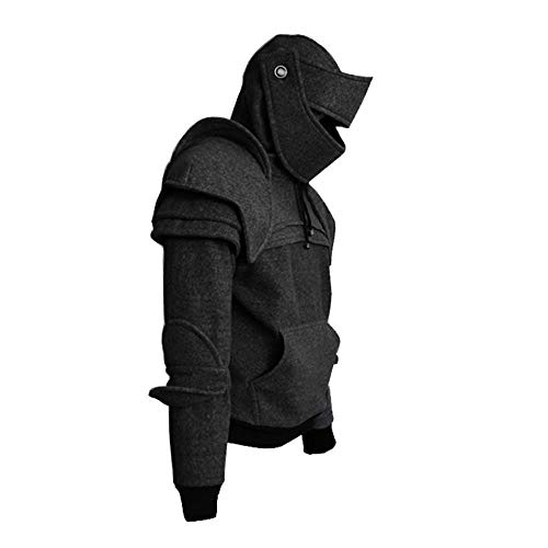 XWGlory Herren Pullover Seil Maske Ritter Hoodies Winter Warm Pullover Casual Langarm Hoodies
