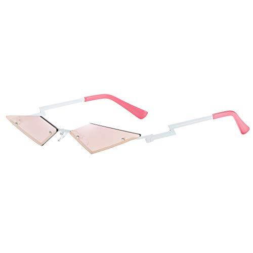 FeiliandaJJ Sonnenbrille Mode Irregulär Form Brillen Frauen Männer Vintage Retro Kleine Sonnenbrille Unisex Sunglasses (Rosa)
