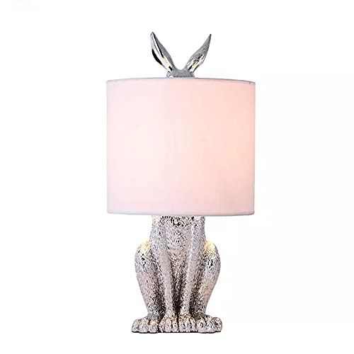 XINGS Lámpara de Mesa rústica de Conejo 1 luz Lámpara de Escritorio de Resina Creativa Mesita de Noche Luz de Noche con Pantalla de Tela Lámparas de Lino para Sala de Estudio Oficina Hotel