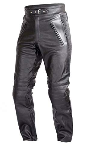 WICKED STOCK Mens Motorcycle Black Leather Pants with CE Rated 4 Piece Armor PT55 (XL)