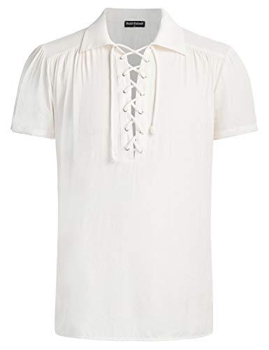 SCARLET DARKNESS Camiseta Medieval de Escote Solapa con Cordones para Hombre L Blanco