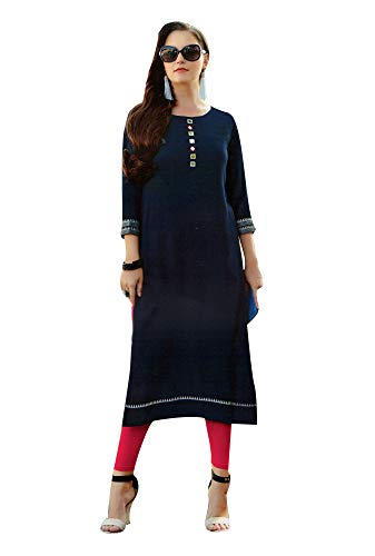 ladyline Plain Rayon Traditional Mirror Embroidery Work Kurtis for Women Tunic Top Indian Dress (Size-38/ Navy Blue)
