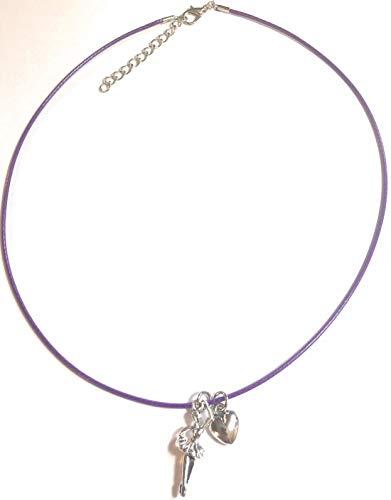 FizzyButton Gifts Ballerina en harthanger halsketting met paarse halsketting, gepresenteerd in geschenkzakje, voor meisjes en feestjes