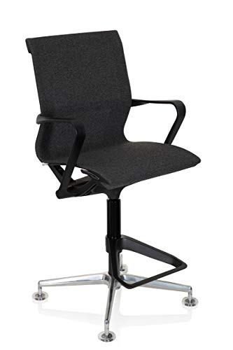 hjh OFFICE 790014 silla de trabajo TOP WORK 306 tela negro taburete ergonómico silla alta apoyapiés reposabrazos