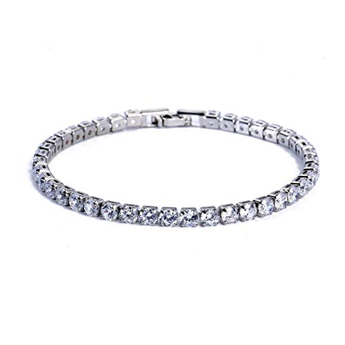 DSJTCH 4mm Cubic Zirconia Tennis Bracelet Iced Out Chain Bracelets For Women Men Gold Silver Color Bracelet CZ Chain ewelry (Length : 17cm length, Metal Color : Silver white)