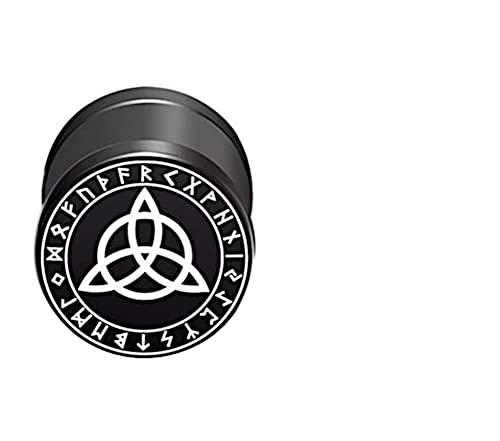 CHICNET Damen Herren Fake Plug Piercing Ohrstecker Ohrring aus Edelstahl in schwarz Silber, Schraubverschluss, 10mm rund, 6mm lang, 1.2mm Stift, Viking Celtic Nordic Triquetra