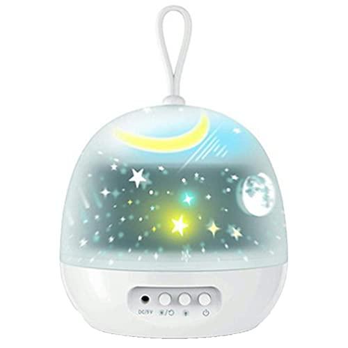 Haowen Rotación de la Luz de la Noche Proyector Spin Starry Sky Star Light Niños Niños Dormir Blanco