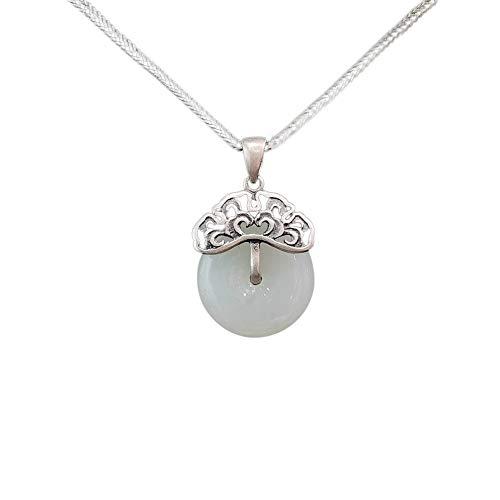 Anhänger Halskette 925 Silber Damen mit Jade - Chinesischer Vintage Schmuck 100% Handarbeit aus Hotan mit Echtheitszertifikat 101-LT101V3-45cm