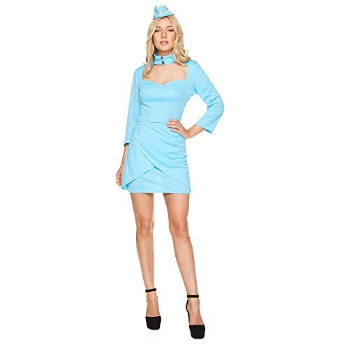Karnival 81358 mijl hoge lucht stewardess kostuum, vrouwen, blauw, extra klein