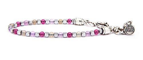 PORTONOVO Pulsera de una sola vuelta para mujer con piedras cúbico 4 mm lila; rosa y perla con plata fundida BRA 04_2457