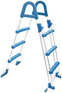 well2wellness® Escalera de piscina alta escalera de seguridad de tubo de acero – 3 + 3 peldaños hasta 95 cm de altura (3EXX0176)