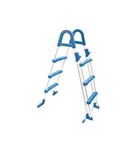 well2wellness® Poolleiter Hochbecken Sicherheitsleiter aus Stahlrohr - 3+3 Stufen bis 110cm Höhe