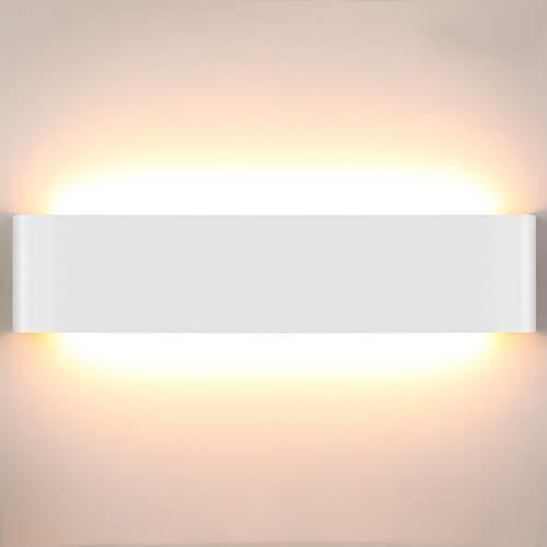 Lightess 18W Apliques de Pared LED Lámpara de Pared Interior 40CM Luz Moderna Agradable Luz de Aluminio Iluminación para Salón, Dormitorio, Sala, Pasillo, Escalera, Blanco, 3000K Blanco Cálido