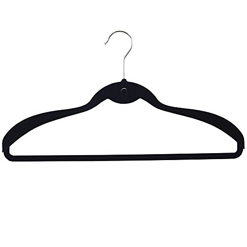 JVL pak jas hoge kwaliteit fluweel Touch anti-slip jas hangers, zwart, pak van 5