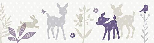 lovely label Bordüre selbstklebend HÄSCHEN & REHE LILA/GRAU/BEIGE - Wandbordüre Kinderzimmer/Babyzimmer mit Hase & REH - Wandtattoo Schlafzimmer Mädchen & Junge – Wanddeko Baby/Kinder