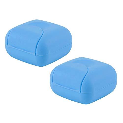NUODWELL Reise-Seifenbox, handgefertigt, wasserdicht und auslaufsicher, quadratisch, kleine Seifenschale, versiegelte Box, tragbares Outdoor-Zubehör, 2 Stück blau