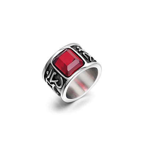 CRYPIN Anillo de Acero de Titanio con Diamantes de Piedras Preciosas Rojas Mantra de Seis Caracteres