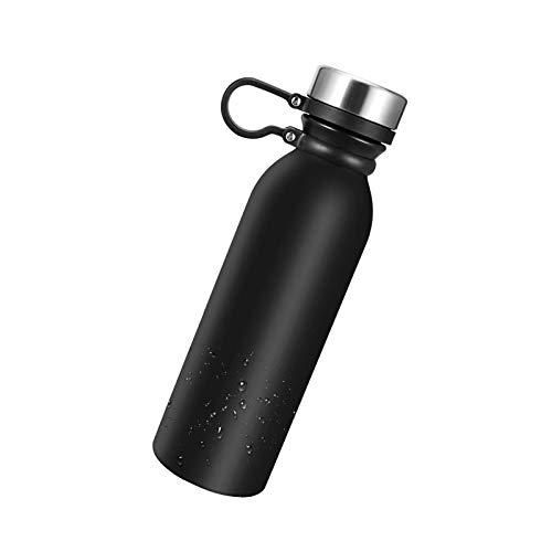 litulituhallo Botella de agua de 600 ml, vaso aislado al vacío de doble pared de acero inoxidable, libre de Bpa, ligero