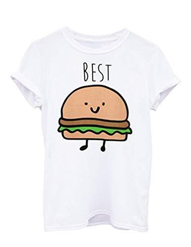 Beste Freunde T-Shirts für Zwei Junge Mädchen, Damen Best Friends Hamburger und French Fries Sommer Shirt Pommes Frittes Sport Casual Tops Frauen Kurzarm Oberteil Bluse Hemd T-Shirt (Burger, S)
