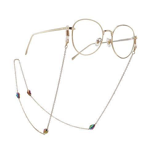 Gafas Cadena Gafas Collar Cadena Antideslizante Multicolor Gotas de Agua Cristal Gafas...