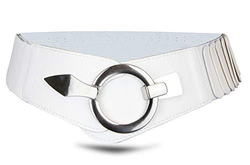 Cinturón elástico para mujer, 6 cm de ancho, con cierre de anillo plateado. blanco perla small/medium