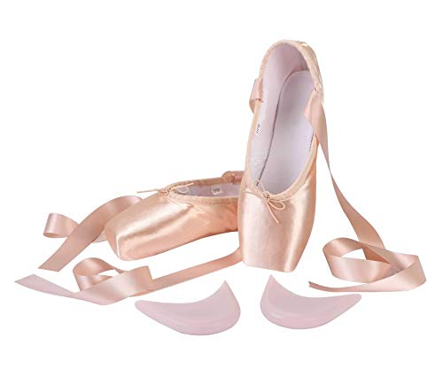 Linodes Professional Stain Ballet Pointe Dance Shoes Slippers with Ribbons and Toe Pads for Girls and Women-Pink-8 Women