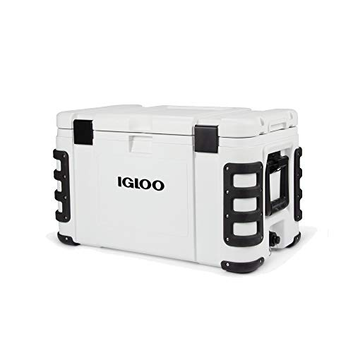 Igloo Leeward 72 Quart Marine Grade Lockable Insulated Fishing Ice Chest Cooler with Cutting Board, Fish Ruler, and Tie-Down Points, White