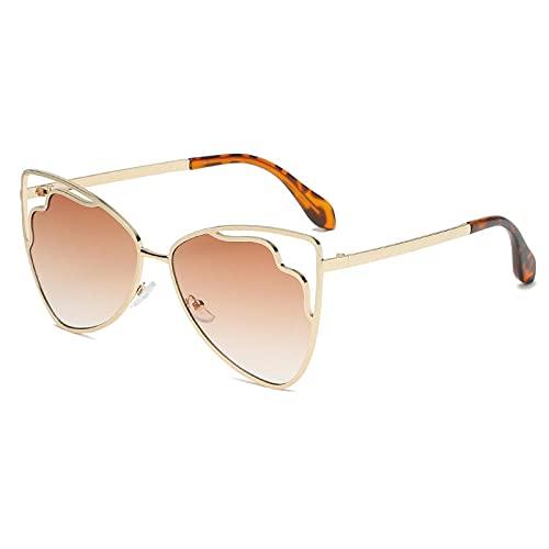 XDOUBAO Gafas Gafas de sol huecas triangulares Coloridas gafas de gato Ojo Gafas de sol Oculta Lente Otita Gafas de sol-Color foto_Té de gradiente de marco de oro