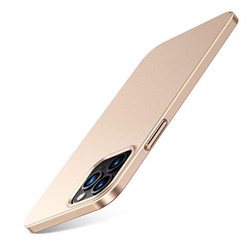 TORRAS Slim Fit für iPhone 12 Hülle/iPhone 12 Pro Hülle (Dünn Aber Schützend) (Minimalism Superdünn) mit 2 Schutzglas, Kratzfest Matte Gold Handyhülle iPhone 12/12 Pro Hülle, Decency Series
