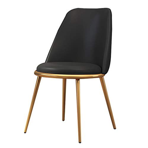 Dining chair Silla de escritorio robusta, simple, respaldo creativo, silla de ocio, estable para el hogar para adultos (color negro)