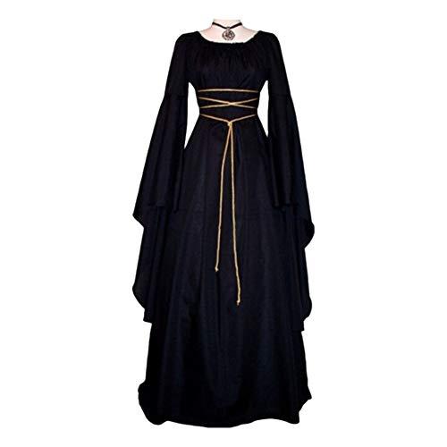 CVERY Vestido medieval para mujer, disfraz de bruja gótica de Halloween, vestido largo irregular de manga larga Cosplay Maxi vestido victoriano cuello redondo vestidos largos con cuerda de cintura
