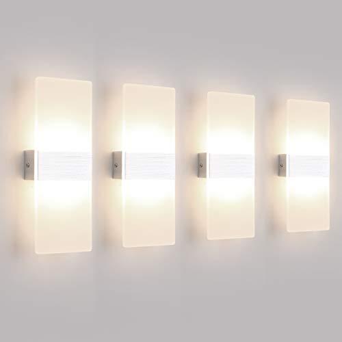 Klighten 4PCS Lampada da Parete Interno 12W Bianco neutro 4000K, Moderno Applique da Parete in Acrilico Perfetto per Camera da Letto, Soggiorno, Bagno, Corridoio, Scale