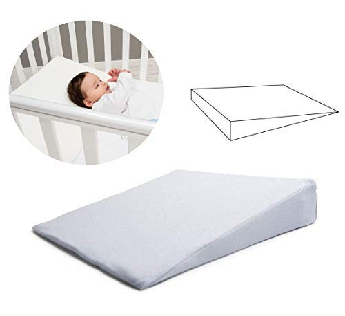 Baby Kissen (Made in EU und OEKO-TEX®) - Keilkissen Baby für Wiege und Kinderwagen - Geschenkidee für Neugeborene mit abnehmbarem Kissenbezug