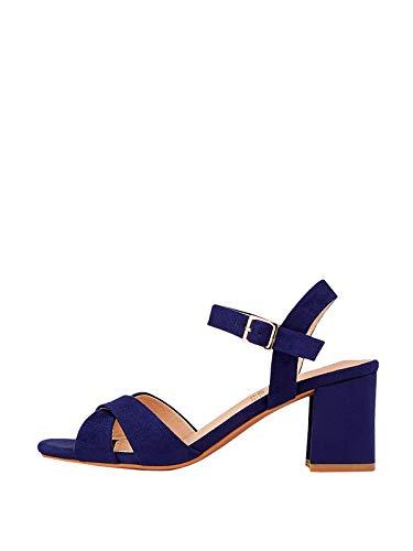 Marypaz, Sandalia básica con tacón ancho moda verano para Mujer Azul 37 EU