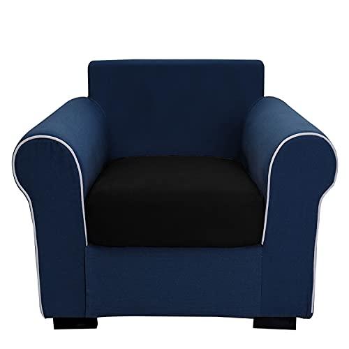 THJ Funda de cojín antideslizante de terciopelo elástico para sofá, fundas de asiento de sofá extraíbles con parte inferior elástica, lavable, protector de fundas (negro)