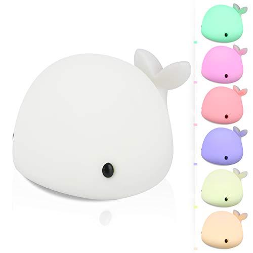 Luz Nocturna Bebé, 7 Color Cambiante USB Recargable Lámpara Niños, luz nocturna infantil Control Táctil para Habitación de Bebé, Dormitorio, Salas de estar, Camping