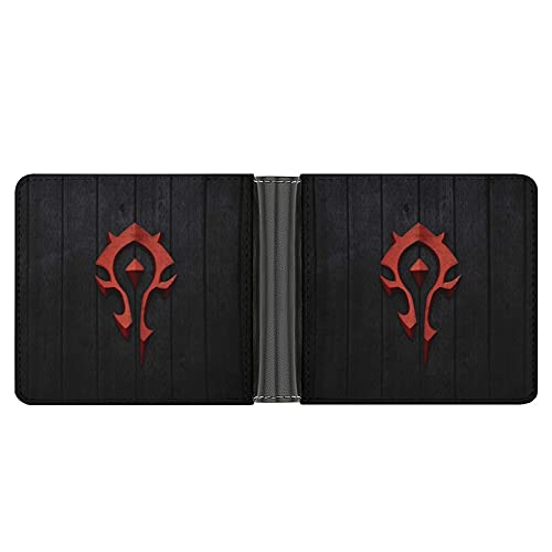 World Warcraft - Cartera de cuero plegable para mujeres y hombres con bolsillo para monedas