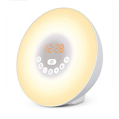 Wake Up Light Kinder Lichtwecker Mit Radio, Sonnenaufgang Wecker mit Snooze Funktion Tageslichtwecker mit NaturgeräUschen, Nachttischlampe Touch Dimmbar Alarm Clock für Kinderzimmer Schlafzimmer