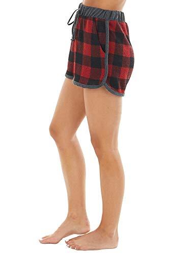 Pijama largo a cuadros para mujer, conjunto de pijama de dos piezas, ropa de dormir de manga larga con cuello en V, camiseta, pantalones cortos con bolsillos