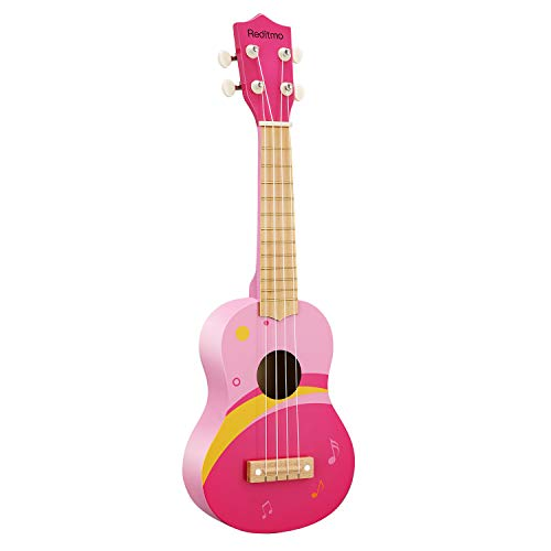 "Reditmo Kids Ukulele Toy Guitar, 21"" Mini 4 Strings Wooden Guitar, Suitable for Toddler, Baby, Preschool Children, Any Boy&Girl, Early Educational Learning Musical Instrument, Pink"