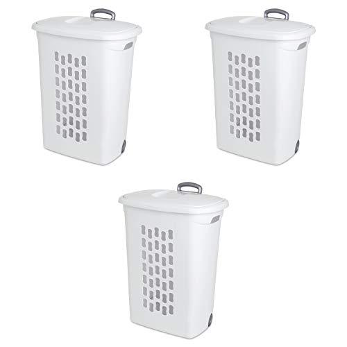 Sterilite 12228003 Ultra Wheeled Hamper, White Lid & Base w/ Plastic Handle & Wheels, 3-Pack