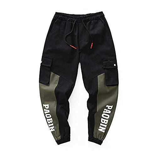 BBTRE Pantalones deportivos para hombre con estampado de letras, pantalones de correr, ajustados, con bolsillos