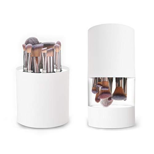 Eenten Soporte para Brochas de Maquillaje de Plástico Blanco con Tapa 2 en 1 Estante de Secado Impermeable Resistente al Polvo Transpirable para Brochas de Cosméticos Redondas con 12 Ranuras