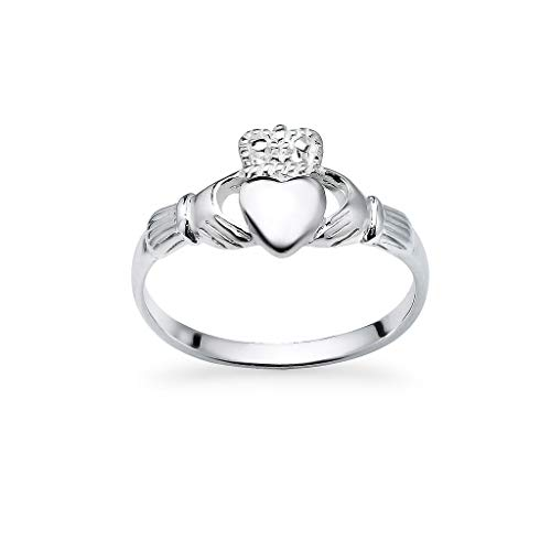 925 Sterling Silver Irish Claddagh Crown Love Heart Band | Celtic Friendship Promise Ring Size 7.5
