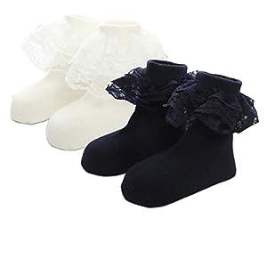 [インソミラ] InSomila 靴下 キッズ 女の子 フォーマル 子供 レース ソックス 黒 白 通学 スクール 中学生 高校生 フリル リボン 2点セット 女児 (ブラック/ホワイト, 18-21cm)