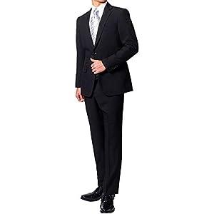 オールシーズン 2つボタン シングルフォーマル アジャスター付 パンツ裾上げ済み メンズ ブラックスーツ 喪服 礼服 (BE6, 股下70cm)
