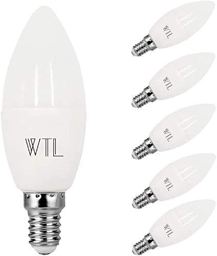 WTL E14 - Lampadina a LED a candela, equivalente 40 W (5 W), 3000 K, 400 lm, non dimmerabile, lampadina a candela C37 con piccola vite Edison per ventilatore a soffitto, confezione da 6