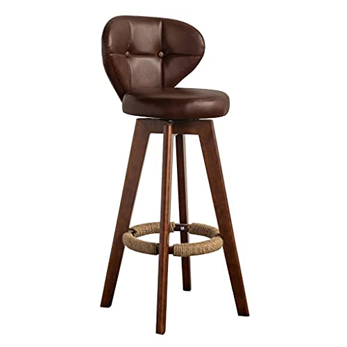 LYLSXY Chair,Counter Height Bar Stools Pu Leather Upholstered Modern Dining Distressed Barstool Chair with Low Back and Wood Legs for Dining Room,Kitchen,Bar Counter,Brown,54Cm
